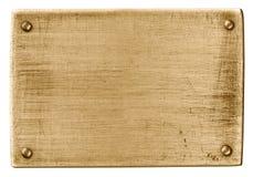 Plaque de métal en bronze avec des rivets d'isolement avec le chemin de découpage Images libres de droits