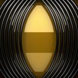 Plaque de métal jaune avec quelques réflexion et éléments noirs Image libre de droits