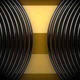 Plaque de métal jaune avec quelques réflexion et éléments noirs Photos libres de droits