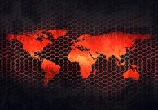 Plaque de métal rouillée grise abstraite avec la carte de relief du monde dans le perfo Photos stock