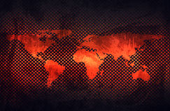 Plaque de métal rouillée grise abstraite avec la carte de relief du monde dans le perfo Images libres de droits
