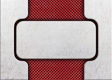Plaque de métal sur les solutions rouges d'une conception de cadre en acier de trellis illustration stock