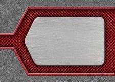 Plaque de métal sur un modèle rouge de fer de maille comme fond, 3d, illust Photographie stock libre de droits