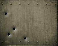 Plaque de métal verte avec l'illustration des trous de balle 3d Photos libres de droits