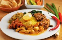 Plaque de nourriture indonésienne photo stock