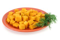 Plaque de potiron - nourriture saine Photos stock