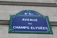 Plaque de rue d'Elysees de champions Photo libre de droits