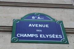 Plaque de rue d'Elysees de champions Photo libre de droits