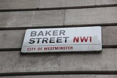 Plaque de rue de Londres, rue de Baker Image libre de droits