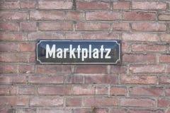 Plaque de rue de Marktplatz Images libres de droits