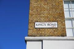 Plaque de rue de Road du Roi Image libre de droits