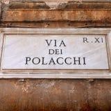 Plaque de rue de Rome Photographie stock libre de droits