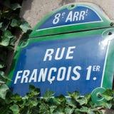 Plaque de rue de Rue de Francois I Images libres de droits