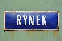 Plaque de rue de Rynek à Wroclaw - en Pologne Photo libre de droits
