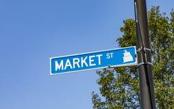 Plaque de rue du marché à Portland Photo stock
