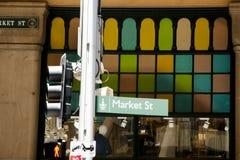 Plaque de rue du marché Photographie stock