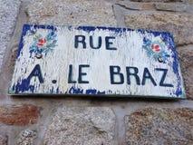 Plaque de rue en Bretagne Photo libre de droits