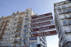 Plaque de rue, Zeebrugge, Belgique Photos libres de droits