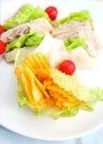 Plaque de sandwich à thon avec de la salade Images libres de droits