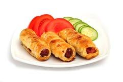 Plaque de saucisse rôtie dans cake2 français Images stock