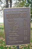 Plaque de Smith Family Cemetery Images stock