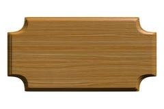Plaque de texture ou fond en bois de signe avec les coins concaves d'isolement sur le blanc, rendu 3D Image stock
