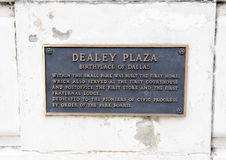 Plaque on Dealey Plaza Monument Stock Image