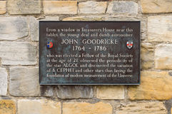 Plaque dedicated to astronomer - John Goodricke, in York, Englan Stock Images