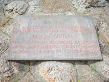 A plaque dedicted to the British Legion who helped Simon Bolivar`s army win independence for Colombia at the Puente de Boyaca. The site of the famous Battle of stock photos