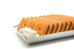Plaque des biscuits et du sucre Photographie stock