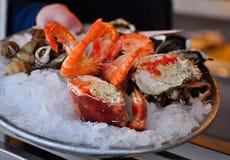 Plaque des fruits de mer frais Image libre de droits