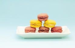 Plaque des macarons français Image stock