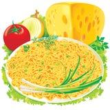 Plaque des spaghetti avec des légumes illustration libre de droits