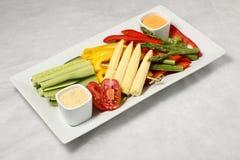 Plaque diagonale de légumes Images stock