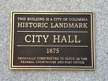 Plaque die op Colombia dat, Sc-Stadhuis wijzen als Historisch Oriëntatiepunt wordt aangewezen royalty-vrije stock afbeelding