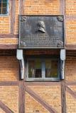 Plaque die Zweedse koning Charles XII Ystad Zweden tonen stock afbeeldingen