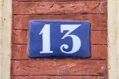 Plaque du numéro 13 Photos libres de droits