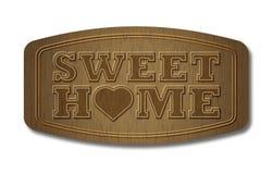 Plaque en bois à la maison douce Photos stock