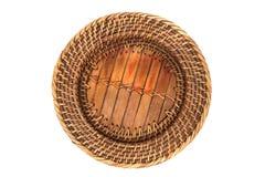 Plaque en bois et tissée Images stock