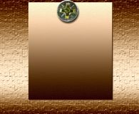 Plaque en bronze de Metall avec le boulon Photo stock