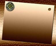 Plaque en bronze de Metall avec le boulon Image stock