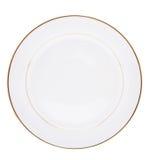 Plaque en céramique blanche d'isolement sur le blanc Photos stock