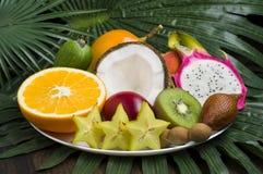 Plaque exotique de fruits images stock
