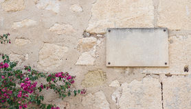 Plaque and flowers on the wall. Wall of stone with an empty plaque and some flowers at left corner Stock Images