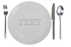 Plaque, fourchette, cuillère et table-couteau vides images stock