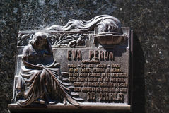 Plaque on Grave of Evita Peron Stock Image