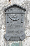 A plaque in honor of the Immanuel Kant. A plaque in honor of the German philosopher Immanuel Kant. Kaliningrad Royalty Free Stock Photo