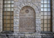 Plaque honoring the memory of Will Rogers presented by the Cherokee Nation. Pictured is a Plaque honoring the memory of Will Rogers presented by the Cherokee Royalty Free Stock Image