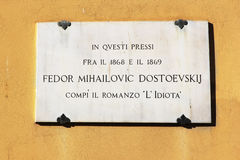 Plaque on the house where he lived Dostoevsky, Florence Stock Photo