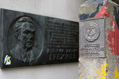 Plaque Leonid Brezhnev and frontier post of DDR Royalty Free Stock Photography